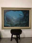 Antique Shipwrecked Gallon Painting On Canvas By Pavan In Frame
