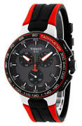 Tissot Menand039s T1114172744100 T-race 44.5mm Black Dial Silicone Watch