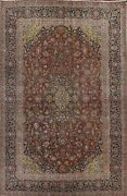 Antique Floral Distressed Traditional Oriental Area Rug Hand-knotted Wool 9x12