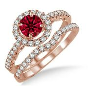 1.50 Ct Ruby And Diamond Antique Floral Halo Bridal Set On 10k Rose Gold