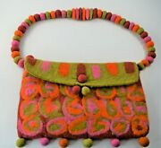 Rising Tide Bohemian Felted Wool Purse Colorful 60s Vibe