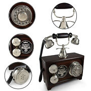 Vintage Old Fashion Rotary Dial Phones Tabletop Wooden Antique Chrome Telephone