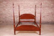 Harden Furniture American Colonial Carved Mahogany Queen Size Poster Bed