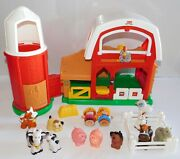 Fp Fisher Price Little People 20-pc Farm Barn Silo +sound Pigs Cows Goat Horse+