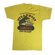 Vintage Sternwheeler Steamboat Natchez New Orleans Yellow T Shirt Size Small