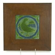 Grueby Pottery Faience 6x6 Bird In Circle Tile Arts And Crafts Matte Green Blue
