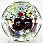 Magnum Beautiful Rick Ayotte Faceted Pansies And Ladybug Art Glass Paperweight