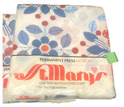 Two Vintage St. Mary's Floral Twin Sheets Fitted Blue Red Orange White New
