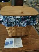 Longaberger 1992 Hostess Collection Mail Basket W/protector And Liner + Hardware