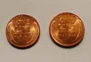 2-1956 Uncirculated Wheat Cents-shiny Cherry Red-nice 2 Coins For Price Of 1