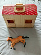 Wooden Stable Playset Farm Horse Barn Animal Wood With One Horse