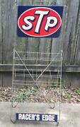 Stp Racers Edge Oil Can Display Stand Rack 2 Sided Sign Vintage 70s