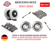 Front And Rear Brembo Brake Rotors And Genuine Brake Pad Sets/sensors For Mercedes