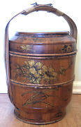 Antique 17 Tall Chinese Bamboo And Wood Wedding Basket With Chinese Lady Rare