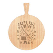 Crazy Bass Guitar Man Stars Pizza Board Paddle Wooden Dad Fathers Day Funny
