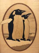Penguins Hudson River Inlay Marquetry Nelson Vtg Wall Decor Nature Wildlife Wood