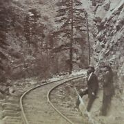 Colorado Central Railroad Hanging Rock Clear Creek Canyon Photo Stereoview A32