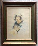 Original Vintage Pastel On Paper Portrait Mother And Baby By John Whittemore