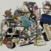 Junk Drawer Lot Watches Lighters Pens Pins Jewelry Glasses Dice Keys