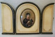 Vintage Italian Leather And Gilt Gold Folding Picture Frame Painting Mary And Jesus