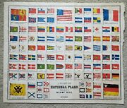 Large Antique Chart Of National Flags 30 Star American Flag 1850 Rare Original