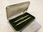 Vintage Solid 14k Gold Cross Ballpoint Pen And Mechanical Pencil Set W/ Box Minty
