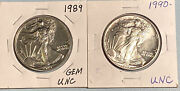1989 And 1990 American Silver Eagles Bu 2 Coin Set