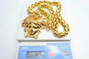 Used Versace Oversized Gold Gp Plating Medusa Long Necklace With Box Gold