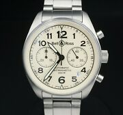 Bell And Ross Vintage Chronograph Antimagnetic Automatic Ss Watch Br-126 39mm W587