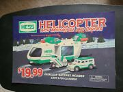 Vintage Hess Gar Station Toy Truck Plastic Sign 2001 Helicopter Motorcycle +