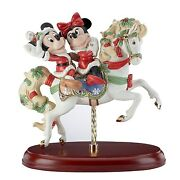 Christmas Lenox Disney Mickey And Minnie On White Carousel Horse New In Box