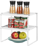 Spice Rack Cabinet Shelf Organizers, Set Of 2 Kitchen Shelves For Counter Pantry