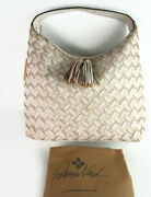 Patricia Nash Large White Braided Stitch Marcellina Leather Tote--nwt