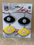 Pittsburgh Steelers Nfl 4-pack Resin Football Ornaments - New