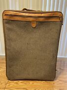 """Vintage Hartman Tweed And Leather 26"""" Roller Rolling Suitcase Luggage Travel"""