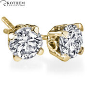 Andpound5100 1.53 Ct Scallop Basket Diamond Earrings 14k Yellow Gold Si2 52210352