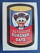 167 Vintage Wacky Packages Die-cut 18 Of 44 Quacker Oats @@ Rare Variation @@