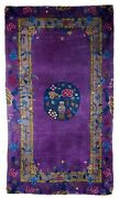 Hand Made Antique Art Deco Chinese Rug 2.10and039 X 4.9and039 89cm X 149cm 1920s - 1e06
