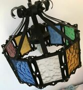 C. 1920s Antique / Vintage Iron And Stained Glass Hanging Chandelier Ceiling Light