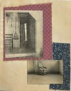 Af Nicholson Mixed Media, Collage Interior Of An Old House And Rocking Chair