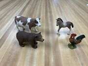 Schleich Farm Animal Figures Lot Cow Rooster Horse Bear