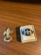 Vintage Sterling Silver Signet Boy Scout Ring And 1930's First Class Hat Badge