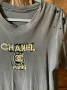 Vintage 1970's T Shirt Faded Black Holes W Gold Cc French Top Med.