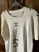 Vintage 1970's T Shirt White W Black Cc Distressed French Top Med.