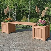 Yardistry Real Cedar Garden Patio Bench With 2 Side Planters New Free Shipping