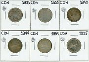 Canada 1931 1935 1940 1944 1954 1955 25 Cents Lot Of 6 Silver 14769