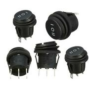5x On/off/on 3position Car Boat 3pin Round Rocker Switch Spdt 6a/250v 10a/125vac