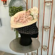 Vintage 50s Cutts Hats Floral Pillbox Hat Netted Ladies Millinery