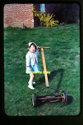 Girl With A Reel Lawn Mower In The Early 1950's, Kodachrome Slide Aa 7-19a