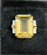 Vintage Citrine And Diamond Emerald Cut 18k Yellow Gold Ring Size 7.5 Msrp 2000